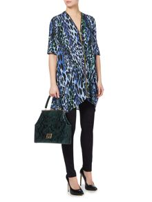 Leopard print zip front jersey tunic