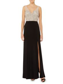 Deep V neck gown with embellished bodice