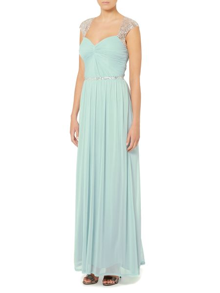 Untold Pleated bodice gown with embellished shoulders
