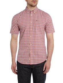 Short Sleeve Shirt With Button Down Collar In Che