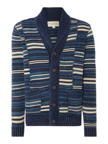 Striped Shawl Neck Button Up Cardigan