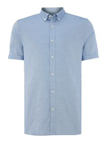 Plain Slim Fit Short Sleeve Classic Collar Shirt