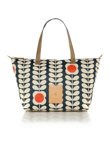 Tall flower stem print grey tote bag