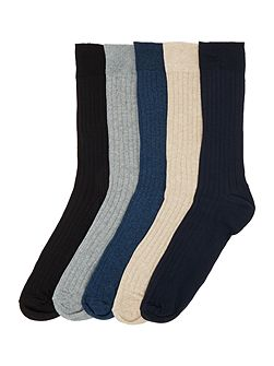 Ribbed Socks, Pack of 5, One Size