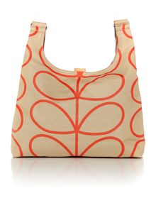 Linear stem print neutral cross body bag