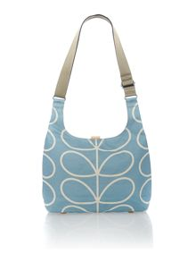 Linear stem print blue cross body bag