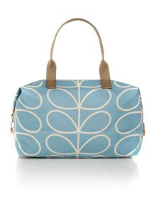 Linear stem print blue duffle bag