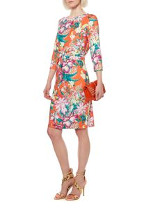 Tropical floral jersey dress