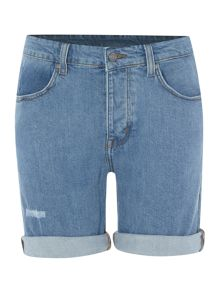 Dr Denim Long cuff rose shorts in light stone repair