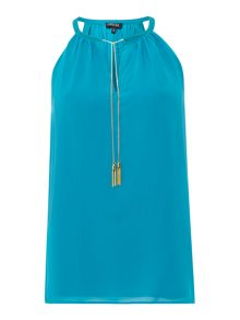 Sleeveless chiffon top with chain detail
