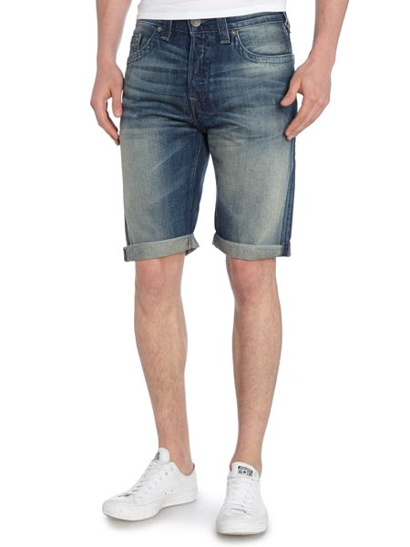 True Religion Dean Regular Fit Mid Wash Denim Shorts