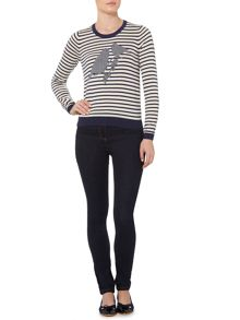 Dickins & Jones Navy bird cross stitch jumper
