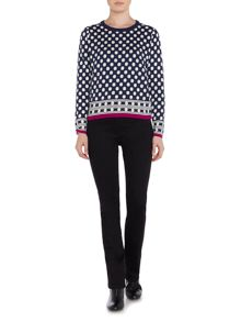 Spot & stripe knit jumper