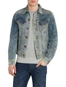 Button Front Denim Jacket In Worn
