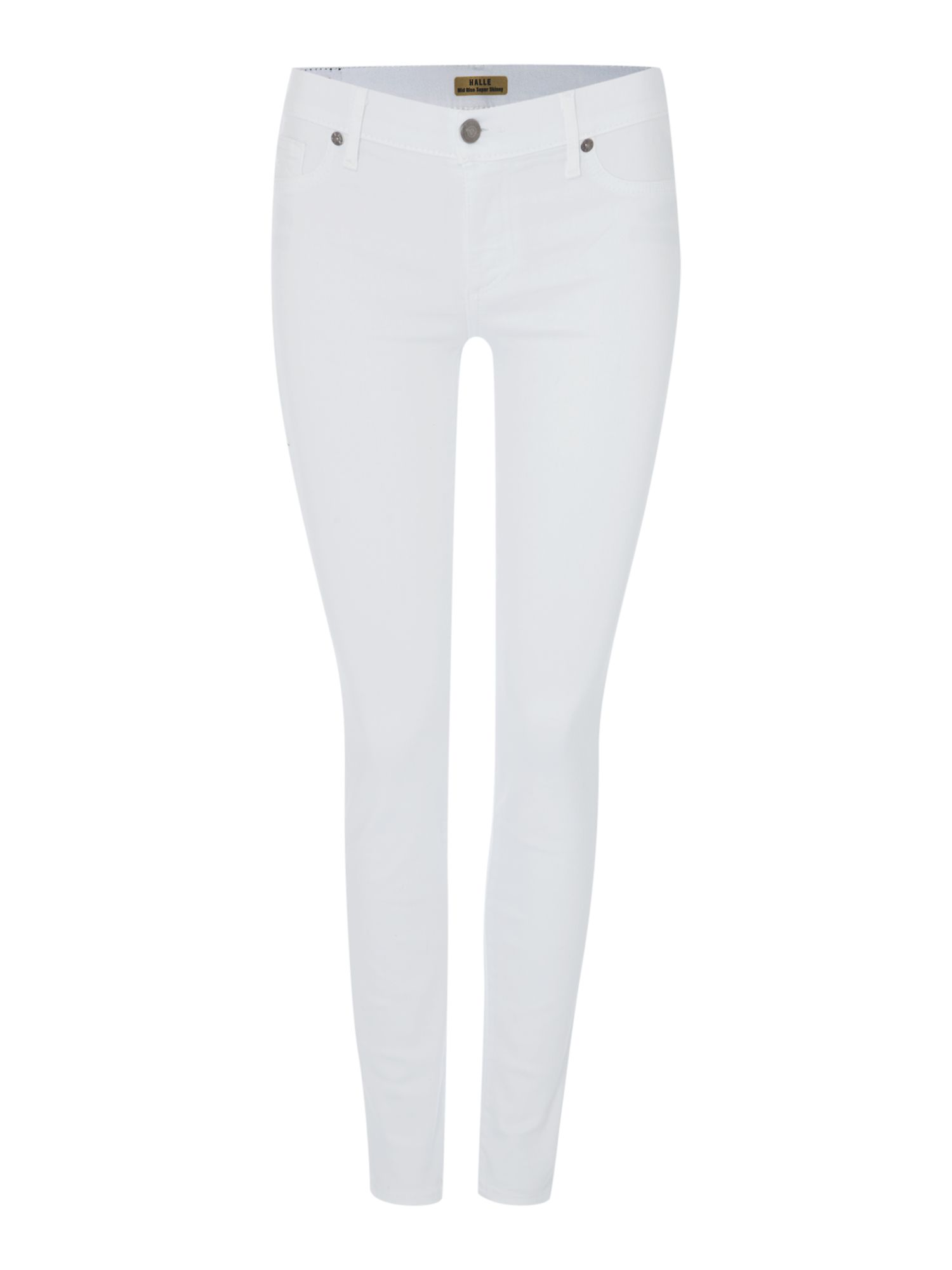 Halle Mid Rise Skinny In Optic White, White