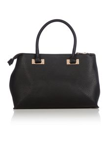 Double zip black large tote bag