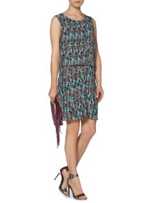 Snake printed pleat detail dress