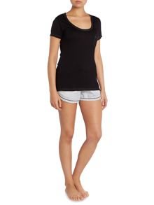 Cyberjammies Black Stripe Short & Tshirt PJ Set