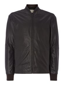 Full Zip Leather Bomber Jacket