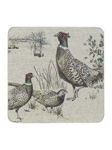 Pheasant cork coasters Set Of 4