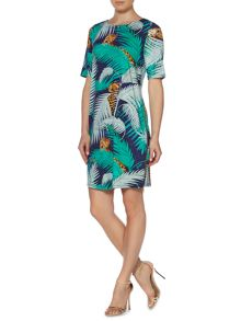 Palm printed zip detail jersey dress