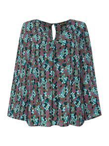 Snake printed cape blouse