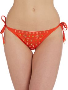 Gold Disc Embellished Tie Side Bikini Bottom
