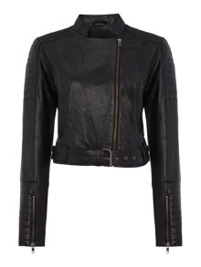 Y.A.S. Leather jacket with zip details