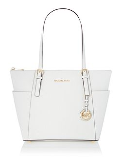 Jetset Item white zip top tote bag