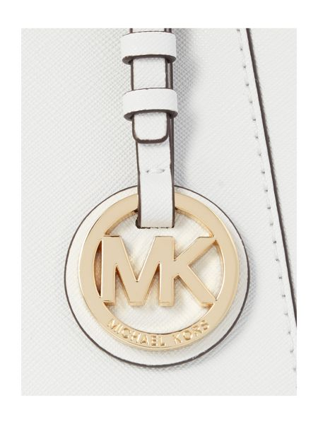 Michael Kors Jetset Item white zip top tote bag