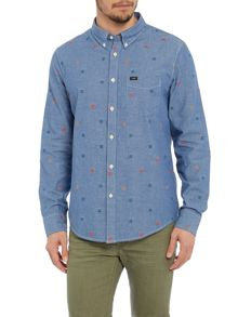 Classic Fit Chambray Shirt With Square Embroidery