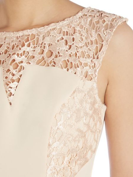 Lipsy Cap sleeved lace detail maxi dress