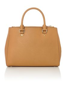 Sutton tan medium double zip tote bag