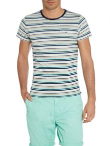 Indigo Stripe Crew Neck Regular Fit T-Shirt