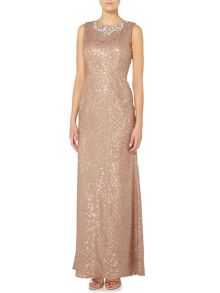 Embellished neck gown with sequin lace