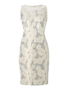 Floral jacquard shift dress