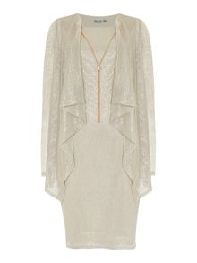 Eliza J Metalic dress with drape jacket