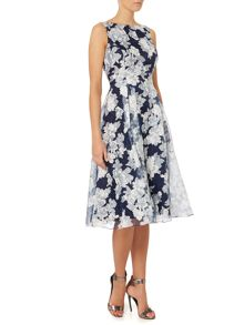 Tea length organz print dress