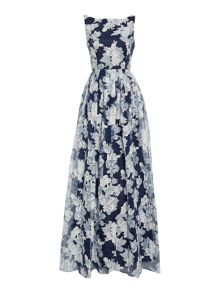Adrianna Papell Floral organza maxi dress