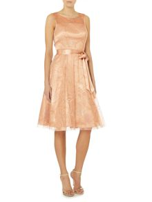 Eliza J Fit and flare dress with ribbon belt