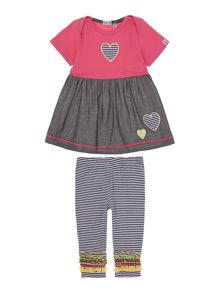 Baby girl stripe dress and legging set