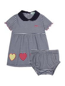 Baby girl stripe dress and bloomer set