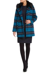 Therapy Faux fur collar brushed wool check coat