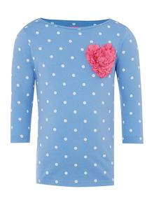 Girls long sleeve polka dot shirt