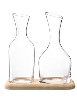 Wine & Water carafe set on oak tray