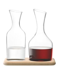 LSA Wine & Water carafe set on oak tray
