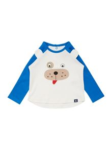 Newborn boy dog face ls shirt