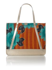 Kantha grey tote bag