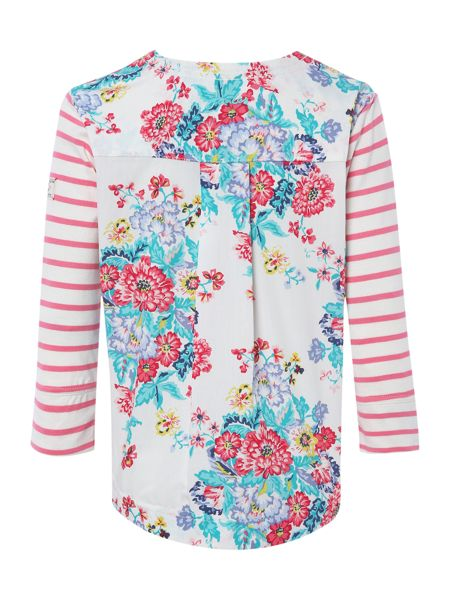 Joules Girls stripe and floral print sweat
