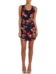 Sleeveless cown neck fit and flare dress